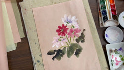 Primrose on Colored Shuen Paper and Exclusive Lesson!