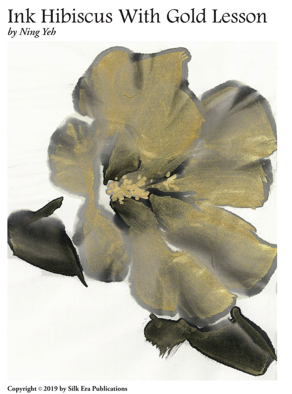 Ink Hibiscus Accented with Gold