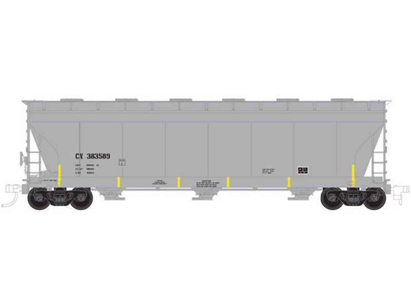 150-20001419 HO ACF 4650 3-Bay Centerflow Covered Hopper Pre-1971 Body - Ready to Run - Master -- Canadian National #385573 (gray, yellow Conspicuity Markings)