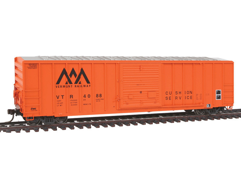 150-20002622 HO FMC 5077 Single Door Boxcar Early Version - Ready to Run - Master(R) -- Vermont Railway #4000 (orange, black)