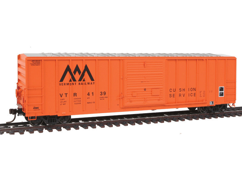 150-20002624 HO FMC 5077 Single Door Boxcar Early Version - Ready to Run - Master(R) -- Vermont Railway #4139 (orange, black)