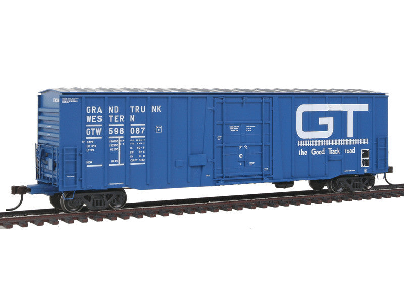 150-20002683 HO National Steel Car 5182 Plug-Door Boxcar - Ready to Run - Master(R) -- Grand Trunk Western #598087 (blue, white, Large GT, Good Track Road Slogan)