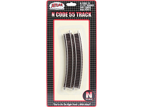 "N Code 55 Track w/Nickel-Silver Rail & Brown Ties -- 11-1/4"" Radius Full Curve pkg(6)"