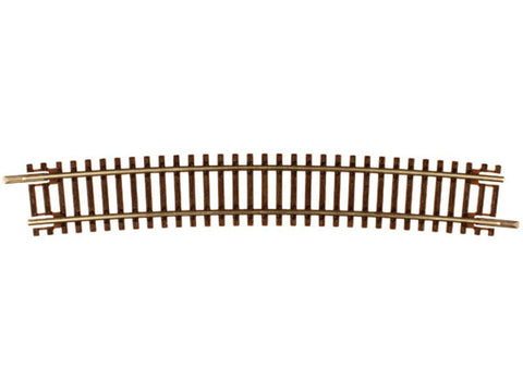 "N Code 55 Track w/Nickel-Silver Rail & Brown Ties -- 21-1/4"" Radius Curve Half Section pkg(6)"