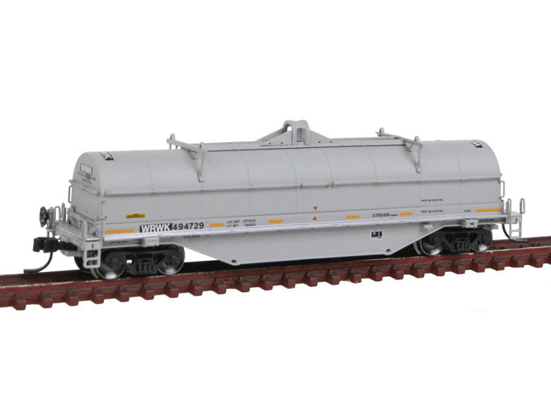 150-50000880 N 42' Coil Steel Car - Ready to Run - Master -- Providence & Worcester WRWK #494729 (gray, black, yellow Conspicuity Marking