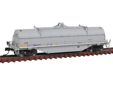 N 42' Coil Steel Car - Ready to Run - Master -- Providence & Worcester WRWK #494777 (gray, black, yellow Conspicuity Marking