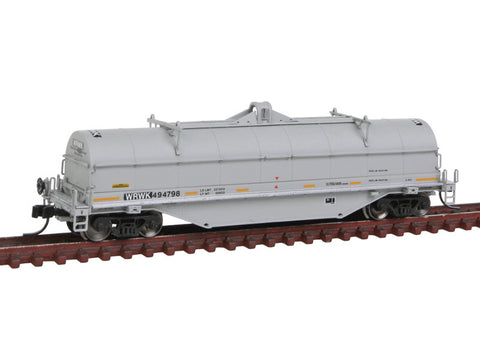 N 42' Coil Steel Car - Ready to Run - Master -- Providence & Worcester WRWK #494798 (gray, black, yellow Conspicuity Marking