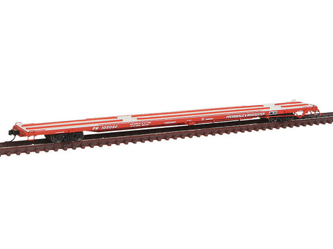 "N ACF 89' 4"" Intermodal Flatcar w/Mid/End Hitches - Ready to Run -- Providence & Worcester #105092 (red, white)"