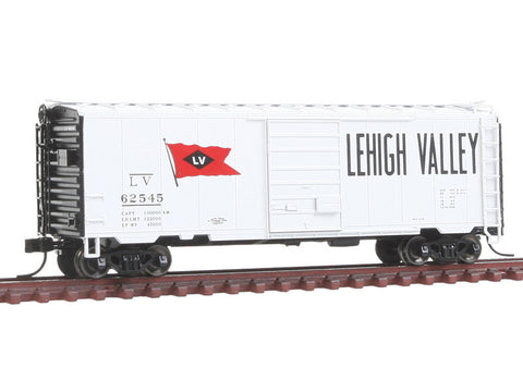 N Pullman-Standard PS-1 40' Boxcar w/7' Door - Ready to Run -- Lehigh Valley #62545 (white, black, red, Flag Logo, Billboard Lettering)