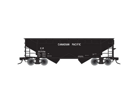 N 2-Bay Offset-Side Hopper w/Flat Ends & Load - Ready to Run - Master -- Canadian Pacific #357156 (black, Block Lettering)