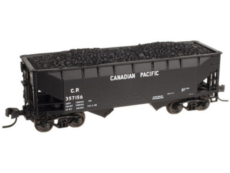 150-50001182 N 2-Bay Offset-Side Hopper w/Flat Ends & Load - Ready to Run - Master -- Canadian Pacific #357191 (black, Block Lettering)