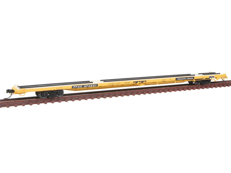 "150-50001386 N ACF 89' 4"" Intermodal Flatcar - Ready to Run -- Trailer Train #974801 (yellow, black)"
