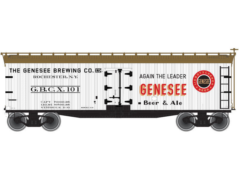 150-50001748 N 40' Wood Reefer - Ready to Run - Master(R) -- Genesee Brewing Company GBCX #101 (gray, Boxcar Red, black, red)