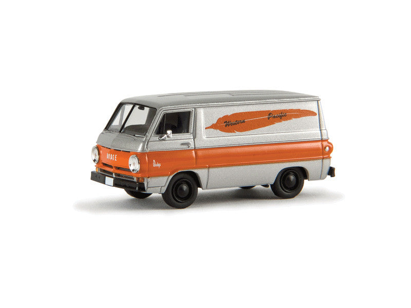 175-34356 HO 1964 Dodge A 100 Cargo Van - Assembled -- Western Pacific (silver, orange w/orange Feather Logo)