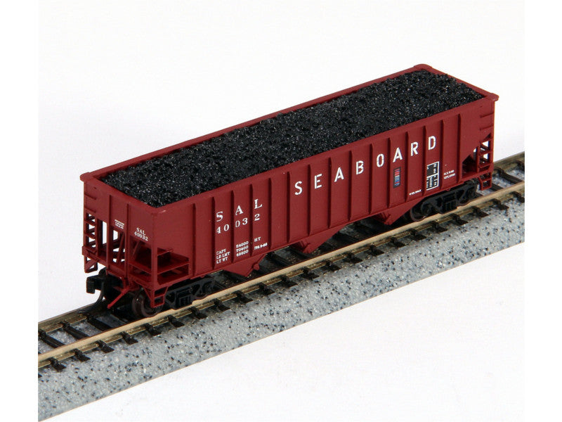 188-14232 N 70-Ton 3-Bay 14-Panel Hopper w/Load 2-Pack - Ready to Run -- Seaboard Air Line (Stenciled Lettering, Boxcar Red)