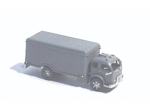 N American Truck - White (Unpainted Metal Kit) -- Cabover w/Refrigerated City Delivery Body