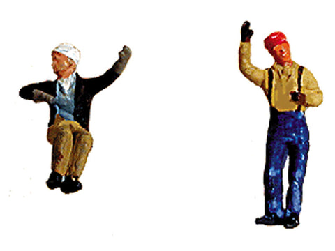 N Contemporary Diesel Engineer/Fireman Set (Painted) -- Waving & Sitting