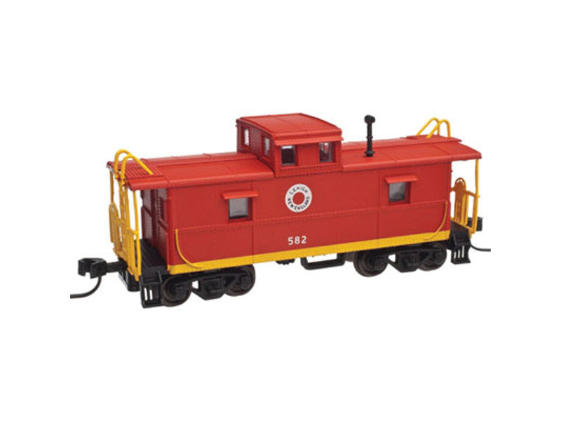 751-20003024 HO C&O-Style Steel Center-Cupola Caboose - Ready to Run -- Lehigh & New England #582 (red, yellow)