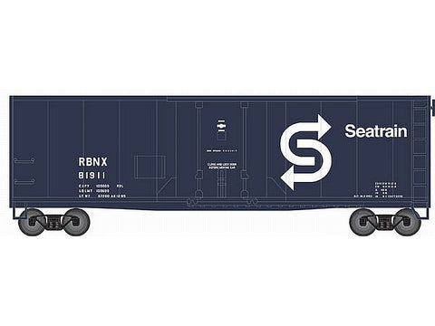 N Trainman(R) 40' Plug-Door Boxcar - Ready to Run -- SeaTrain #81911 (blue, white)