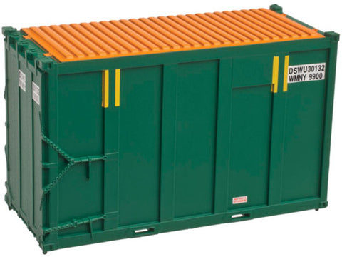 N 20' High Cube Trash Container 4-Pack - Ready to Run -- DSWU Set #2 (green, yellow)
