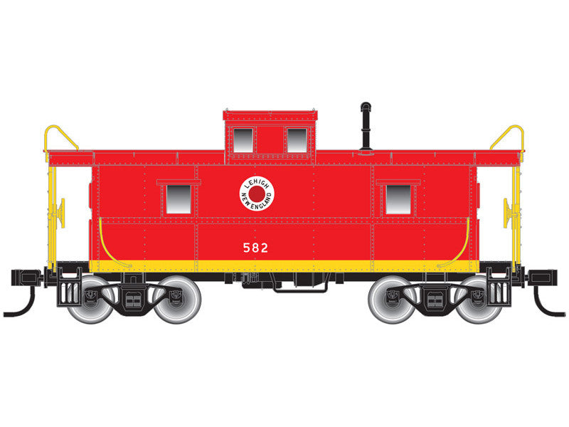 751-50001779 N C&O-Style Steel Cupola Caboose - Ready to Run -- Lehigh & New England #581 (red, yellow, Fried Egg Logo)