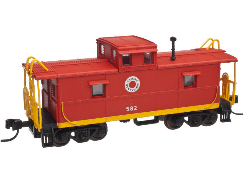 751-50001780 N C&O-Style Steel Cupola Caboose - Ready to Run -- Lehigh & New England #582 (red, yellow, Fried Egg Logo)