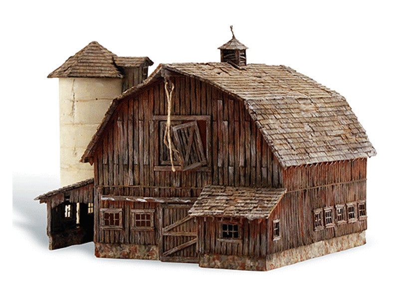 "785-4932 N Old Weathered Barn - Built-&-Ready(R) Landmark Structures(R) -- Assembled - 4-1/4 x 3-3/16"" 10.7 x 8.1cm"