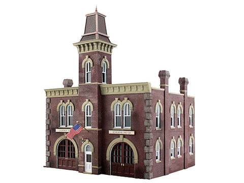 "N Firehouse - Built-&-Ready Landmark Structures(R) -- Assembled - 3-19/32 x 3-7/32"" 9.11 x 8.17cm"