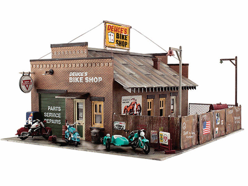 "785-5045 HO Deuce's Bike Shop - Built-&-Ready Landmark Structures(R) -- Assembled - 6-1/2 x 5"" 16.5 x 12.7cm"