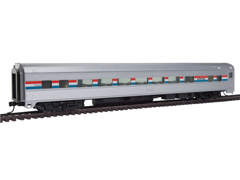 910-30001 HO 85' Budd Large-Window Coach - Ready to Run -- Amtrak (Phase III; silver, Equal red, white, blue Stripes)