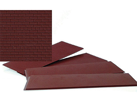 "HO Brick Sheet - 4 x 9-3/4"" 10.1 x 24.7cm pkg(4) -- Dark Red"