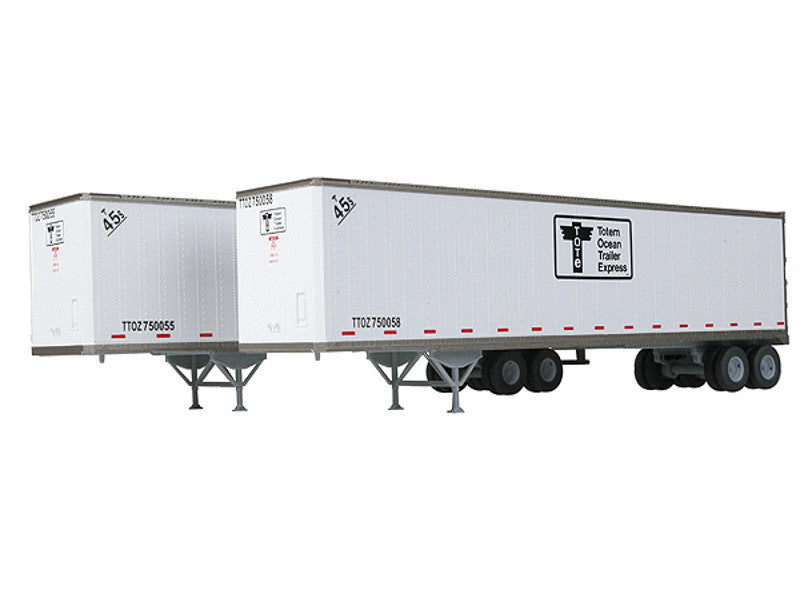949-2202 HO 45' Stoughton Trailer 2-Pack - Assembled -- TOTE #750055, 750058 (white, black)