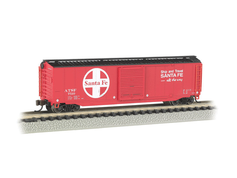 bac19454 N 50' Sliding-Door Boxcar w/Roofwalk - Ready to Run -- Santa Fe (red, black, white; Large Logo, Ship & Travel Slogan)