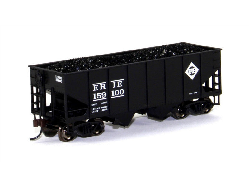 bac19508 HO 55-Ton 2-Bay Hopper w/Coal Load, Erie