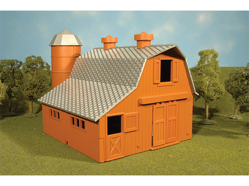 bac45007 HO Plasticville Built-Up Building -- Dairy Barn