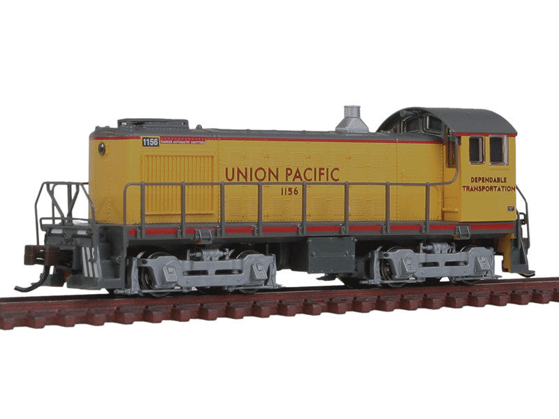 bac63155 N Alco S4 Switcher - DCC -- Union Pacific #1156 (Armour Yellow, gray, Dependable Transportation Slogan)