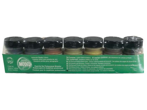 A Modelflex Weathering Color Paint Set -- Includes: Grimy & Weathered Black, Rust, Mud, Earth, Rail & Roof Brown