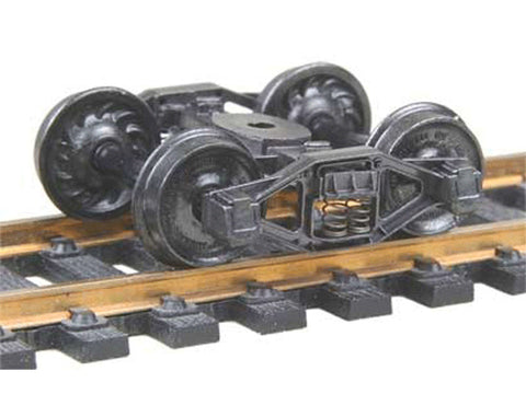"HO Bettendorf T-Section Fully Sprung Metal Trucks -- Code 110 (.110"") 33"" Ribbed-Back RP-25 Wheels 1 Pair"