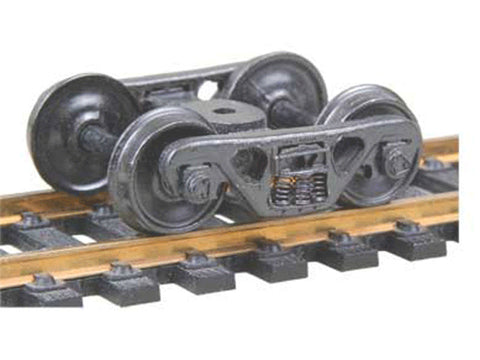 "HO A.S.F.(R) 100-Ton Roller Bearing Fully Sprung Self-Centering Metal Trucks -- Code 110 (.110"") 36Ó Smooth-Back RP-25 Wheels 1 Pair"