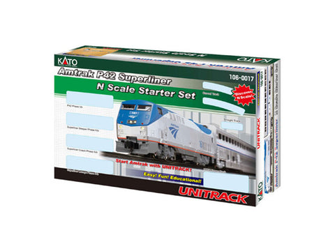 N 	Amtrak Superliner Starter Set -- Amtrak (Phase IVb, silver, blue, red Pinstripes, 2000s Logo)