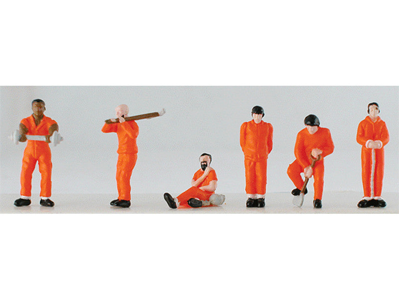 mdp5784 HO Prisoners pkg(6) -- With Solid-Orange Uniforms