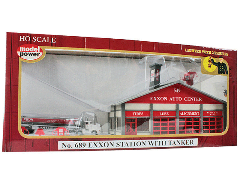 mdp689 HO Built-Up Buildings - Lighted w/2 Figures & Truck -- Exxon Station - Tanker Truck