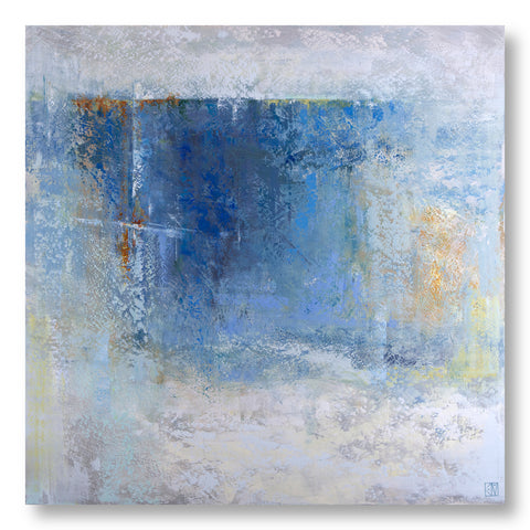 Precipice abstract painting with deep blues, warm orange hints and soft grey tones.