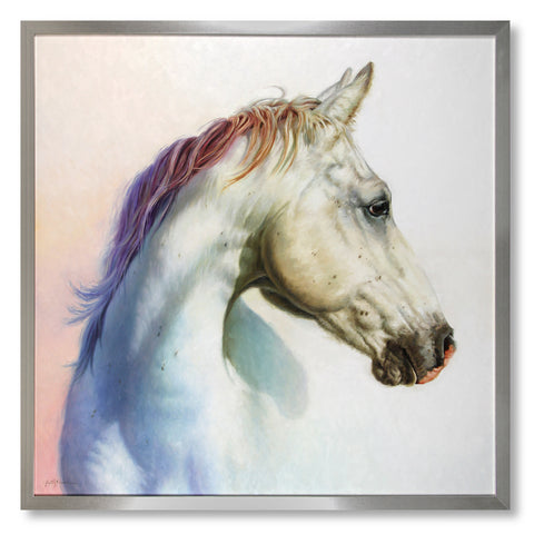Spirit horse painting of a white horse with rainbow mane