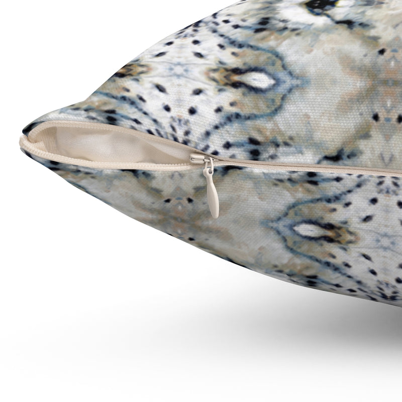 Snow Leopard ~ Natural ~ Spun Polyester Square Pillow