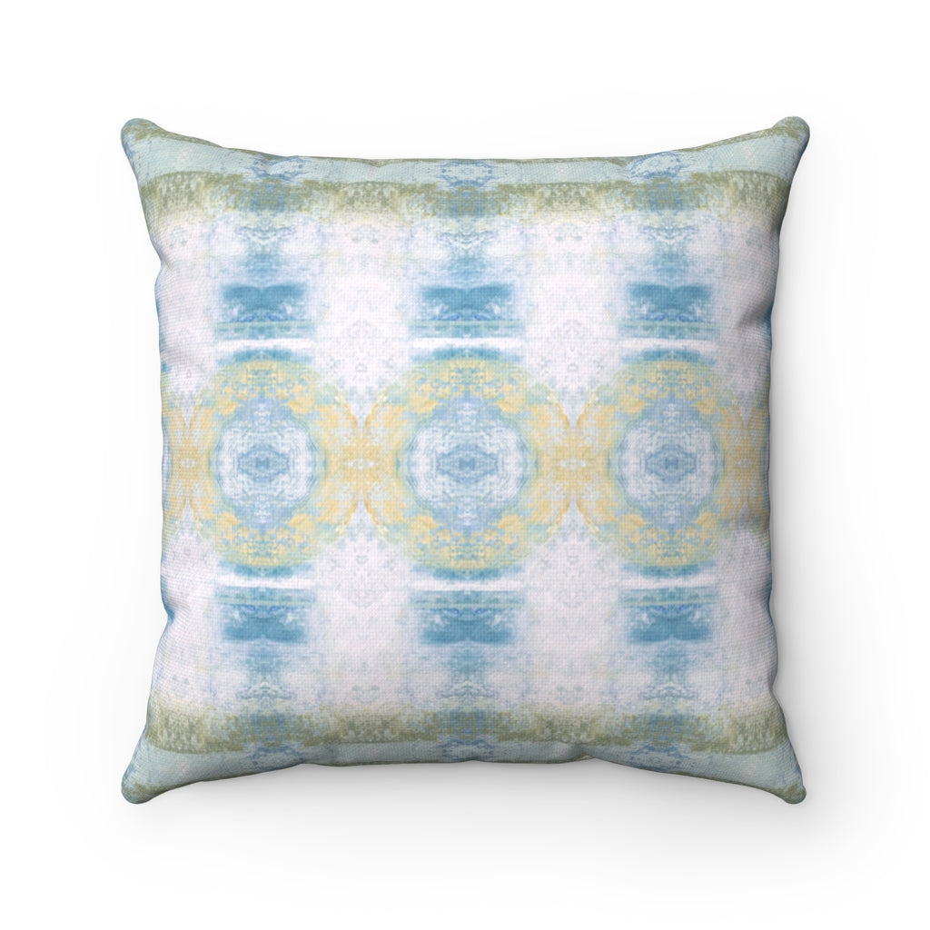 Aquarius/Shell ~ Seafoam ~ Spun Polyester Square Pillow