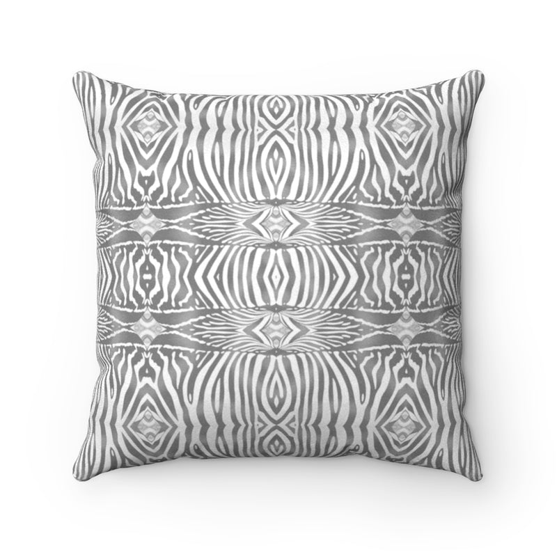 Zebra ~ Grey ~ Faux Suede Square Pillow