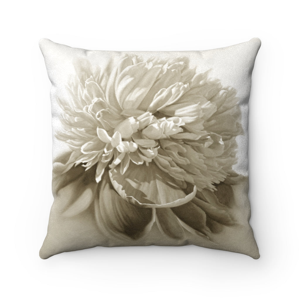 Peony ~ Sepia ~ Faux Suede Square Pillow