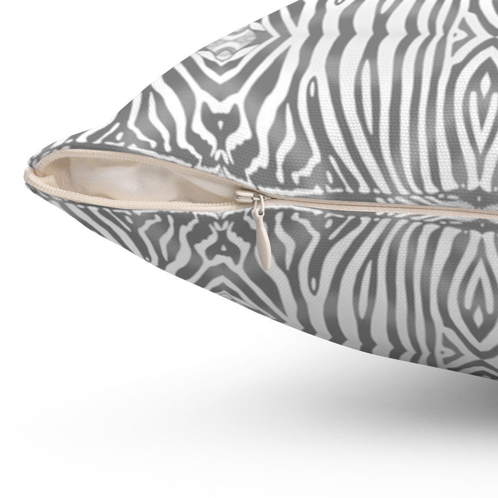 Zebra ~ Grey ~ Spun Polyester Square Pillow