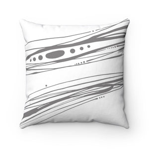 Spindrift ~ Grey & White ~ Spun Polyester Square Pillow